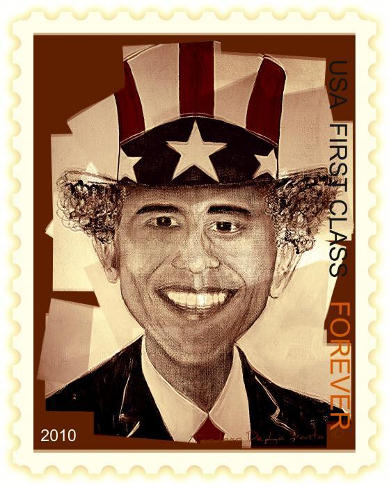 Uncle Bam  Postage Stamp Print by Teodoro De La Santa