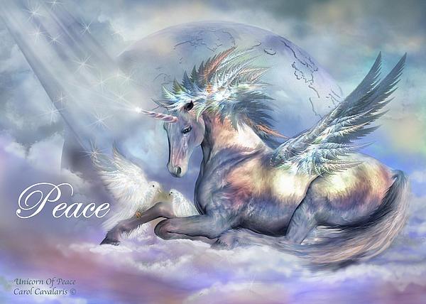 Unicorn Of Peace Card Print by Carol Cavalaris