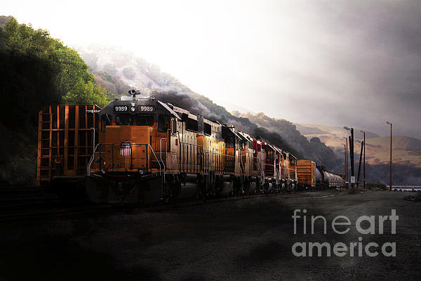 Union Pacific Locomotive At Sunrise . 7d10561 Print by Wingsdomain Art and Photography