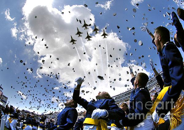 U.s. Air Force Academy Graduates Throw Print by Stocktrek Images