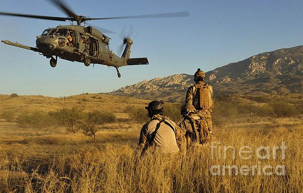 U.s. Air Force Pararescuemen Signal Print by Stocktrek Images