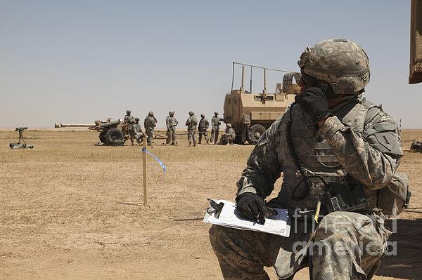 U.s. Army Radio Operator Communicates Print by Stocktrek Images