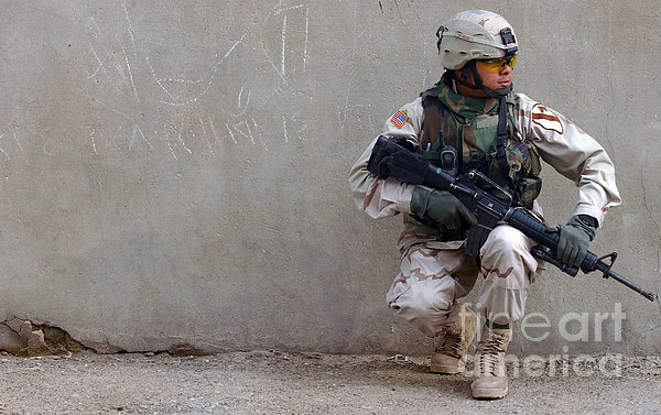 U.s. Army Soldier Armed With A 5.56mm Print by Stocktrek Images