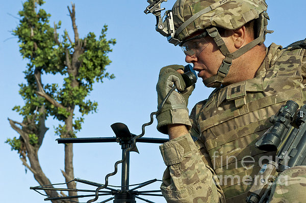 U.s. Army Soldier Calls For Indirect Print by Stocktrek Images