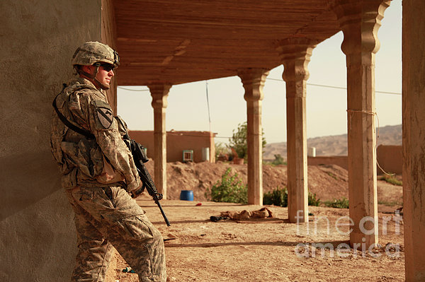 U.s. Army Soldier Pulls Security Print by Stocktrek Images