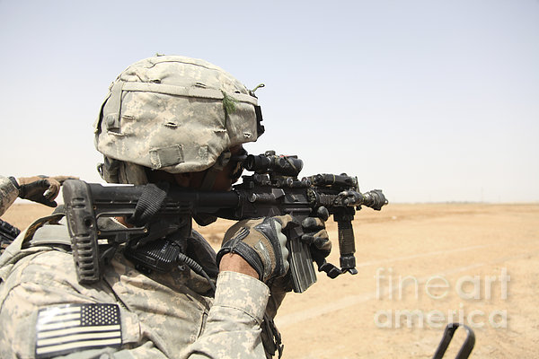 U.s. Army Soldier Scans The Horizon Print by Stocktrek Images