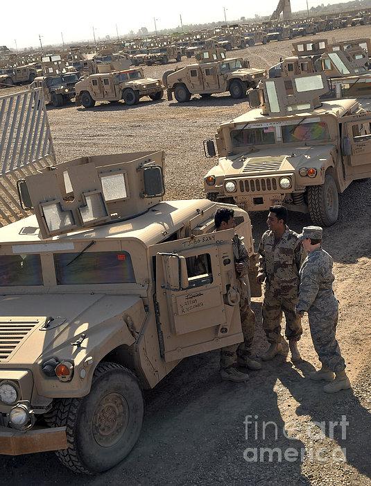 U.s. Army Soldier Speaks With Iraqi Print by Stocktrek Images