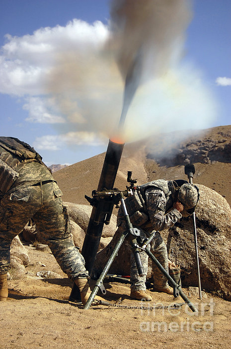 U.s. Army Soldiers Firing A 120mm Print by Stocktrek Images