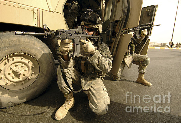 U.s. Army Soldiers Providing Overwatch Print by Stocktrek Images