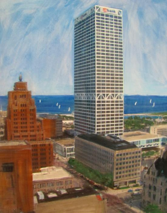 Us Bank And Sailboats Mixed Media