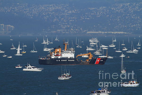 Us Coast Guard Ship Surrounded By Boats In The San Francisco Bay. 7d7895 Print by Wingsdomain Art and Photography