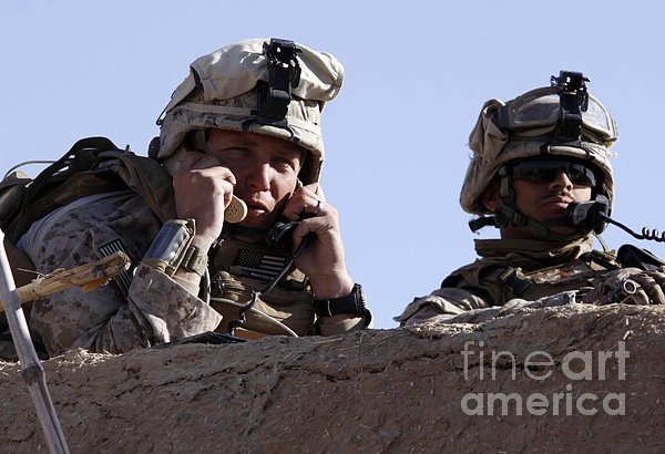 U.s. Marine Gives Directions To Units Print by Stocktrek Images