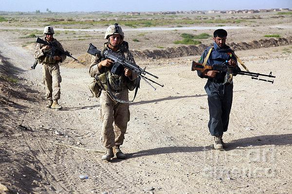 U.s. Marines And Afghan National Police Print by Stocktrek Images