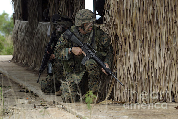 U.s. Marines Prepare To Enter A House Print by Stocktrek Images