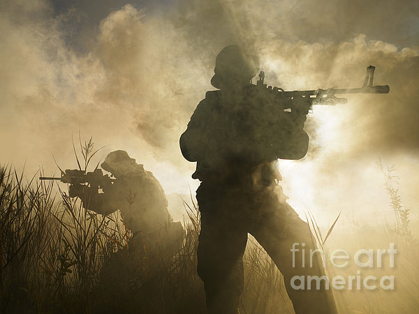 U.s. Navy Seals During A Combat Scene Print by Tom Weber