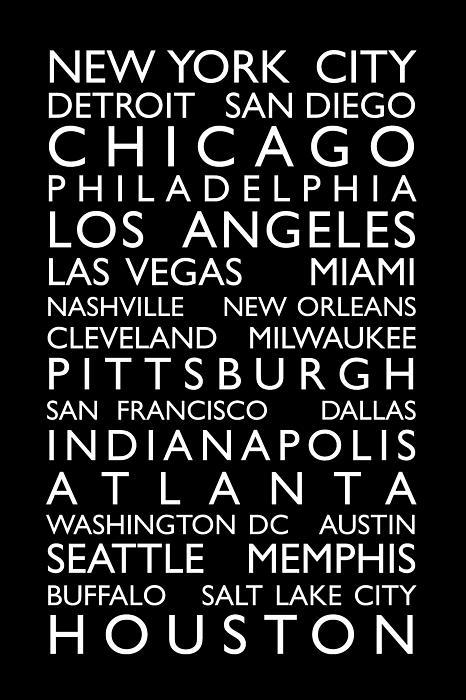 Usa Cities Bus Roll Print by Michael Tompsett