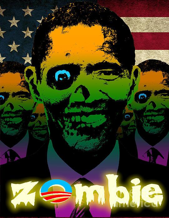 Usa Flag Zombie Obama Horde Print by Robert Phelps