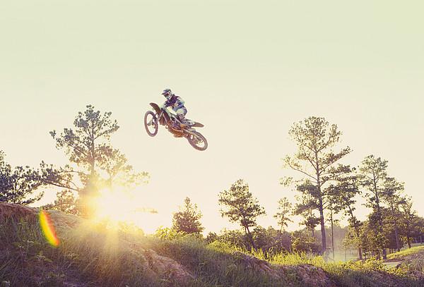 Usa, Texas, Austin, Dirt Bike Jumping Print by King Lawrence