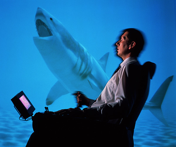 User In Reality Centre Simulator (underwater Set) Print by David Parker