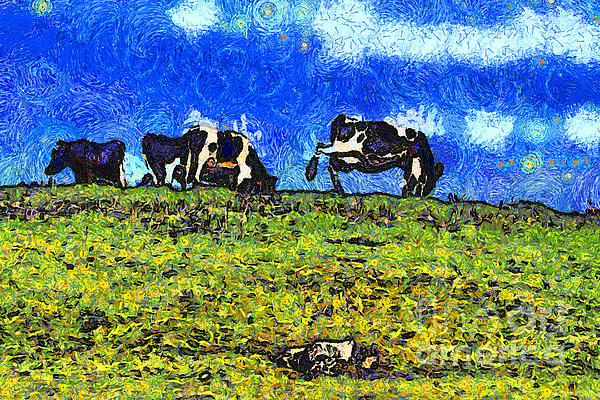 Van Gogh Goes Cow Tipping 7d3290 Print by Wingsdomain Art and Photography