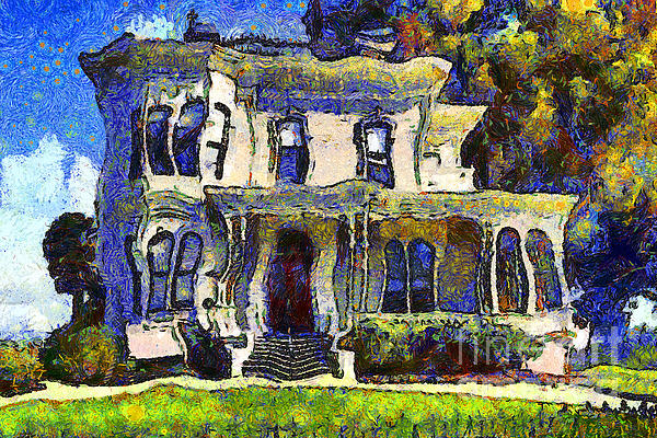 Van Gogh Visits The Old Victorian Camron-stanford House In Oakland California . 7d13440 Print by Wingsdomain Art and Photography