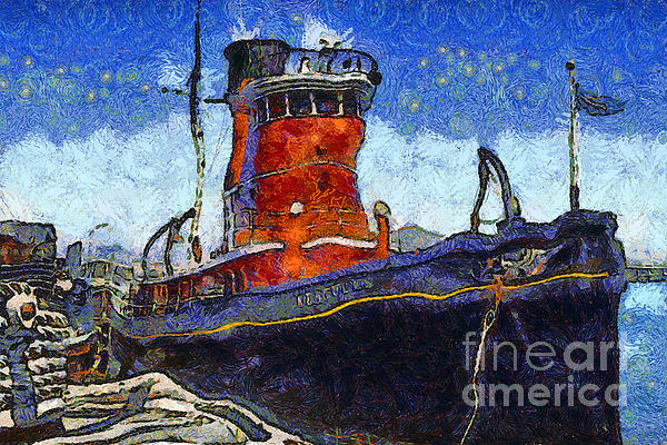 Van Gogh.s Tugboat . 7d14141 Print by Wingsdomain Art and Photography