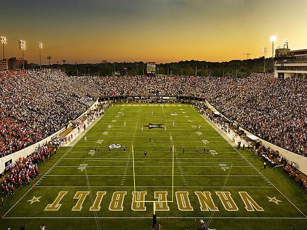 Vanderbilt Endzone View Of Vanderbilt Stadium Print by Vanderbilt University