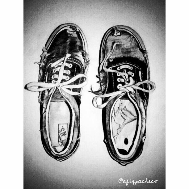 Drawing of Vans Shoes Vans Drawing Pencil Paper