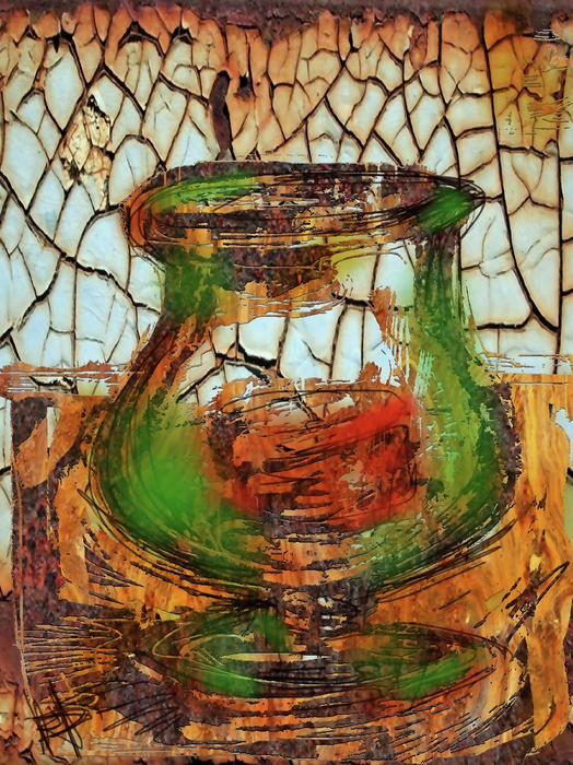 Vase And Candle Print by Russell Pierce