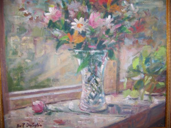 Vase And Flowers In Window Sill. Painting  - Vase And Flowers In Window Sill. Fine Art Print