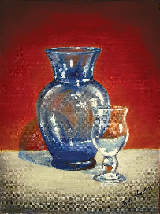 Vase N Glass Goblet Print by Sam Shacked