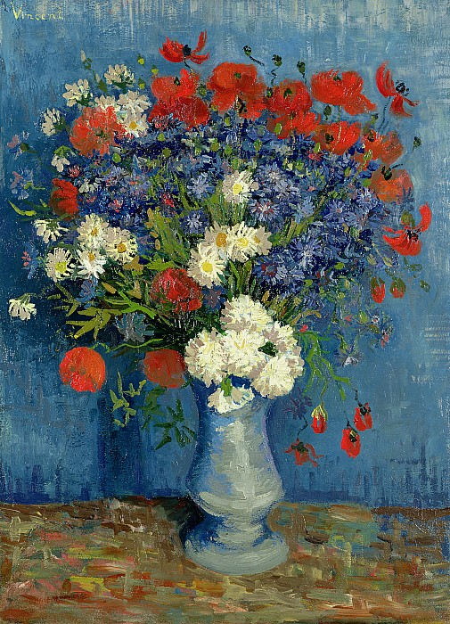 Vase With Cornflowers And Poppies Print by Vincent Van Gogh