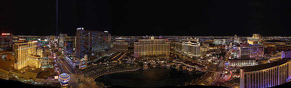 Vegas Strip From Eiffel Tower Print by Metro DC Photography
