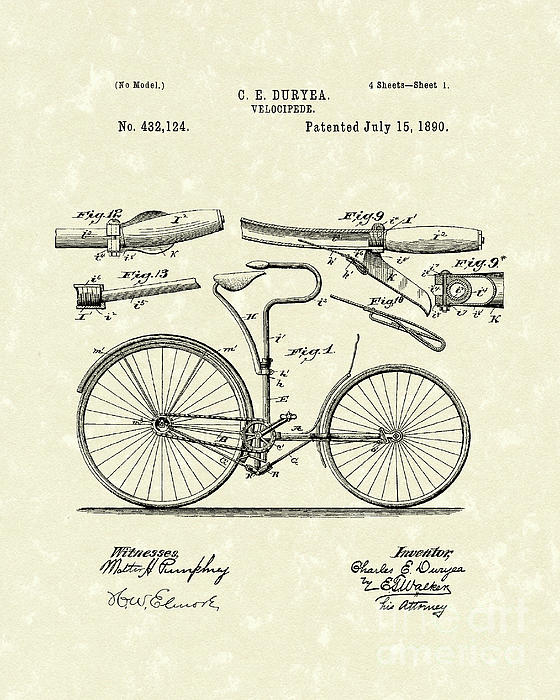 Velocipede 1890 Patent Art Print by Prior Art Design