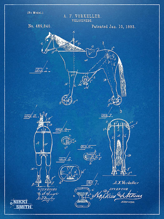 Velocipede Horse-bike Patent Artwork 1893 Print by Nikki Marie Smith