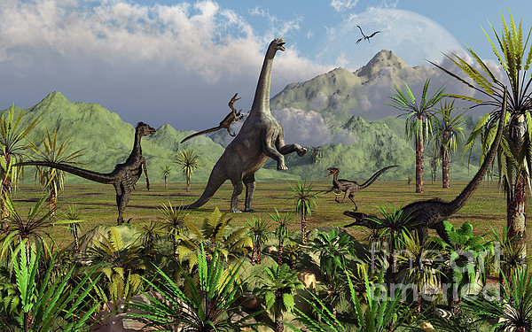 Velociraptor Dinosaurs Attack Print by Mark Stevenson