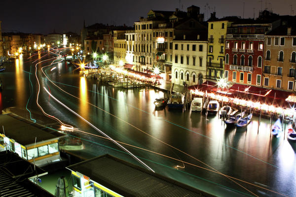 Venice Canal At Night Print by Patrick English