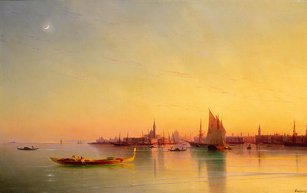 Venice From The Lagoon At Sunset Print by Ivan Konstantinovich Aivazovsky