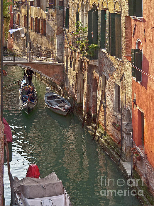 Venice Ride With Gondola Print by Heiko Koehrer-Wagner
