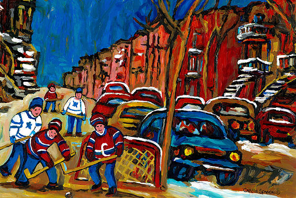 Verdun Rowhouses With Hockey - Paintings Of Verdun Montreal Street Scenes In Winter Print by Carole Spandau