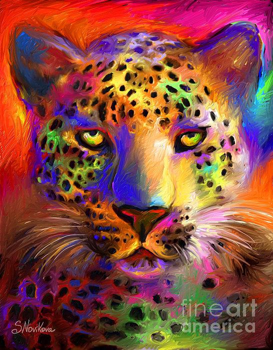 Vibrant Leopard Painting Print by Svetlana Novikova