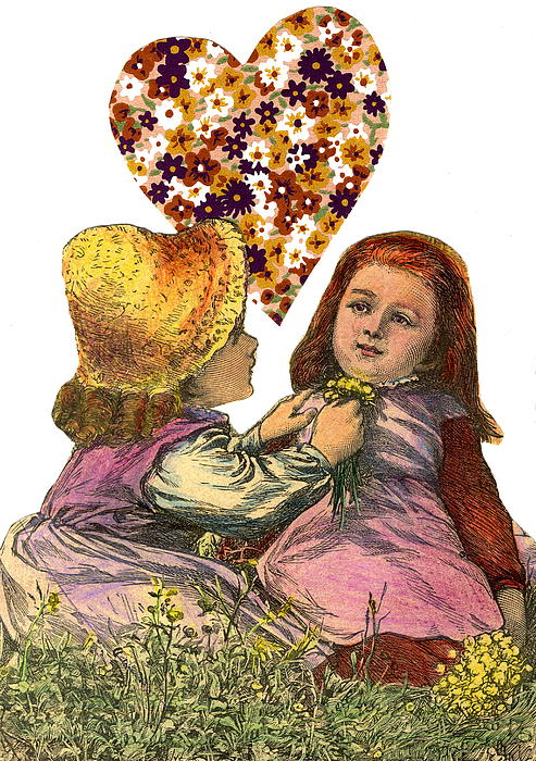 Victorian Girls Buttercup Game Mixed Media  - Victorian Girls Buttercup Game Fine Art Print