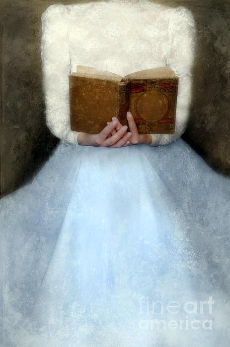 Victorian Woman Holding A Book Print by Jill Battaglia