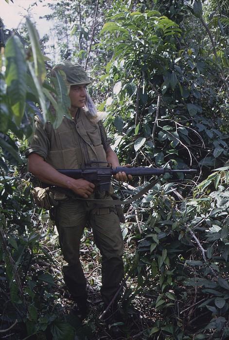 Vietnam War. Us Marine Moves Print by Everett