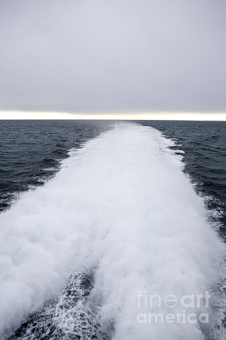 View From Back Of Ferry, Strait Of Juan De Fuca, Washington Print by Paul Edmondson