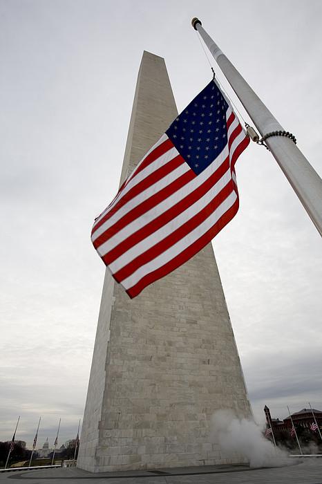 View Of American Flag Print by Tim Laman