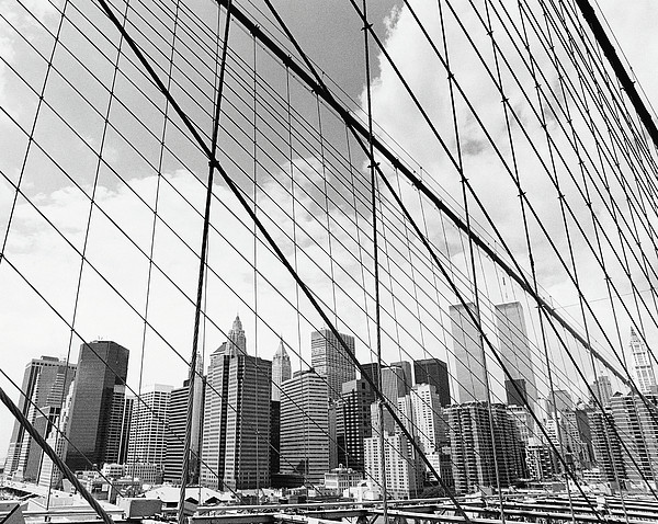 View Of New York From Brooklyn Bridge, Usa Print by Martin Child