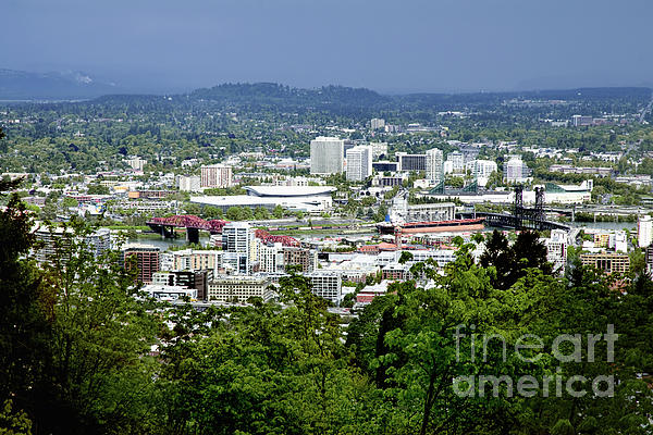 View Of Portland Oregon From Pittock Mansion  Print by Sherry  Curry