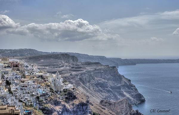 View Of Santorini Print by CR  Courson