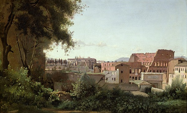 View Of The Colosseum From The Farnese Gardens Print by Jean Baptiste Camille Corot